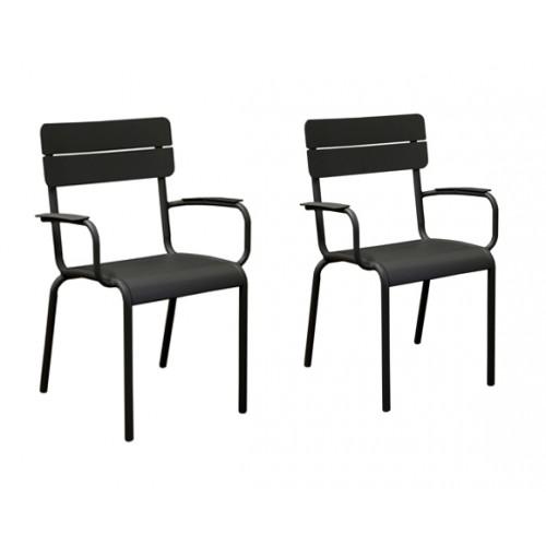 fauteuil jardin bragado noir lot de 2