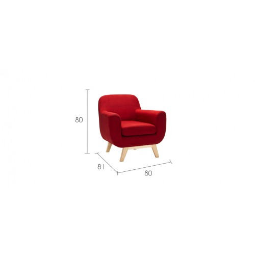 fauteuil rouge tissu pas cher taille
