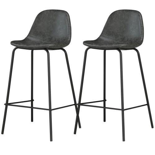 Chaises de bar Henrik noires (lot de 2)