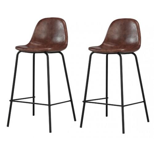 Chaise de bar Henrik marron (lot de 2)