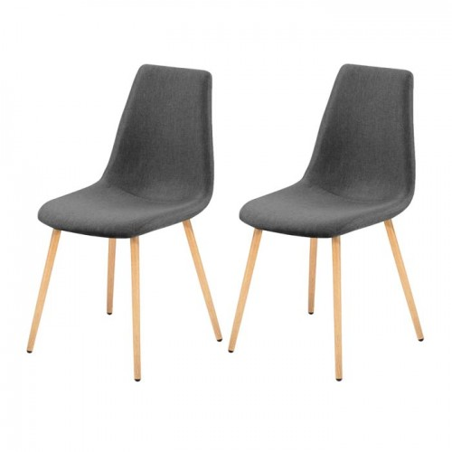 lot de 2 chaises scandinaves grises et bois - Chaise Grise Scandinave