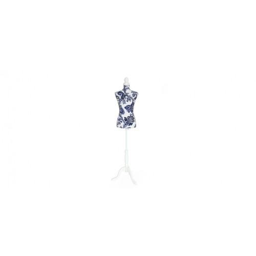 mannequin couture tissu bleu blanc