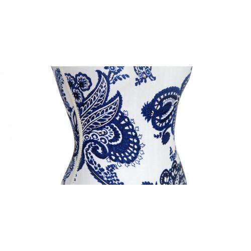 mannequin tissu bois blanc bleu