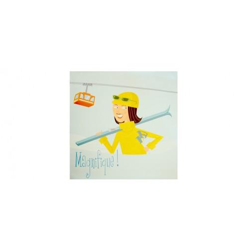 poster avec dessin de fille ski