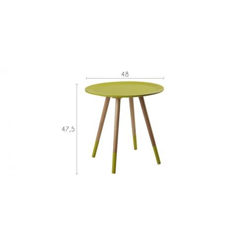 table basse art jaune bois ronde