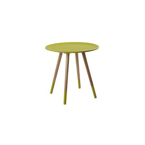table basse art jaune ronde