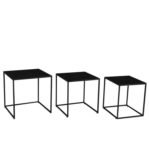 table basse gigogne leela carr e en m tal lot de 3. Black Bedroom Furniture Sets. Home Design Ideas