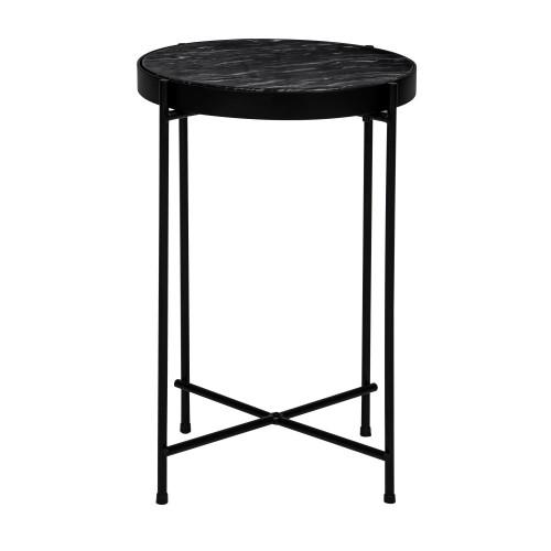 table basse ronde thilda slim marbre noire commandez les. Black Bedroom Furniture Sets. Home Design Ideas