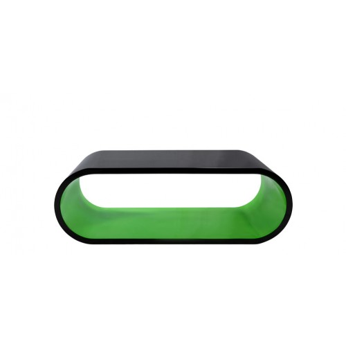 table basse verte et noire arrondie