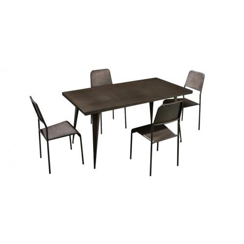 table repas rectangulaire indus avec chaise