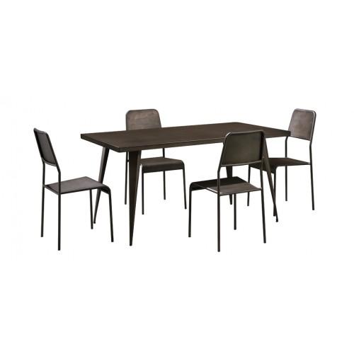 table repas rectangulaire indus metal