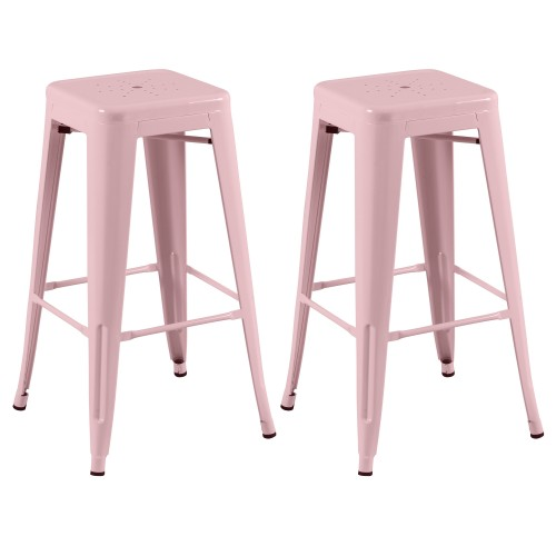 tabouret de bar indus rose lot de 2 craquez pour nos. Black Bedroom Furniture Sets. Home Design Ideas