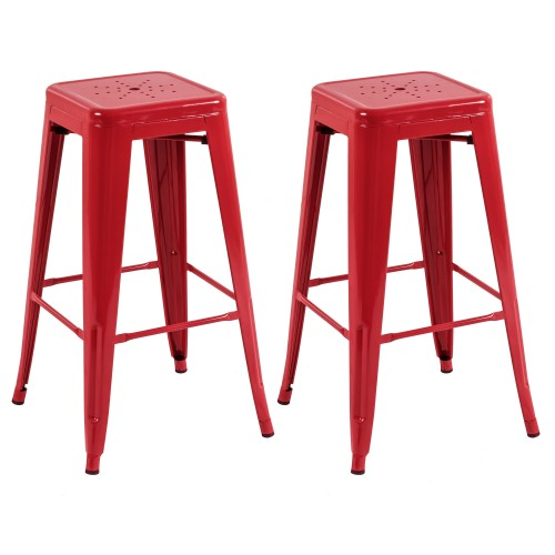 tabouret de bar indus rouge lot de 2 commandez les tabourets de bar indus rouges rdv d co. Black Bedroom Furniture Sets. Home Design Ideas