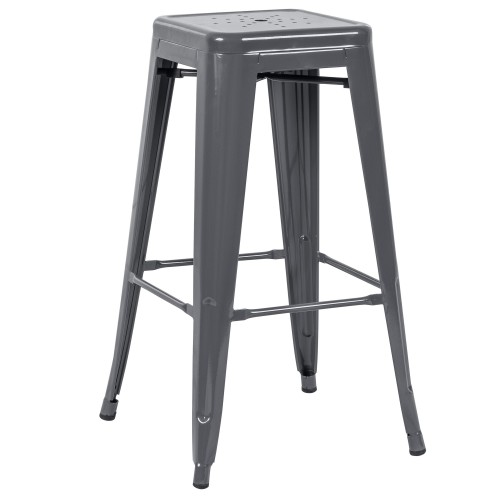 tabouret de bar indus gris brillant lot de 2 achetez nos abourets de bar indus gris brillant. Black Bedroom Furniture Sets. Home Design Ideas