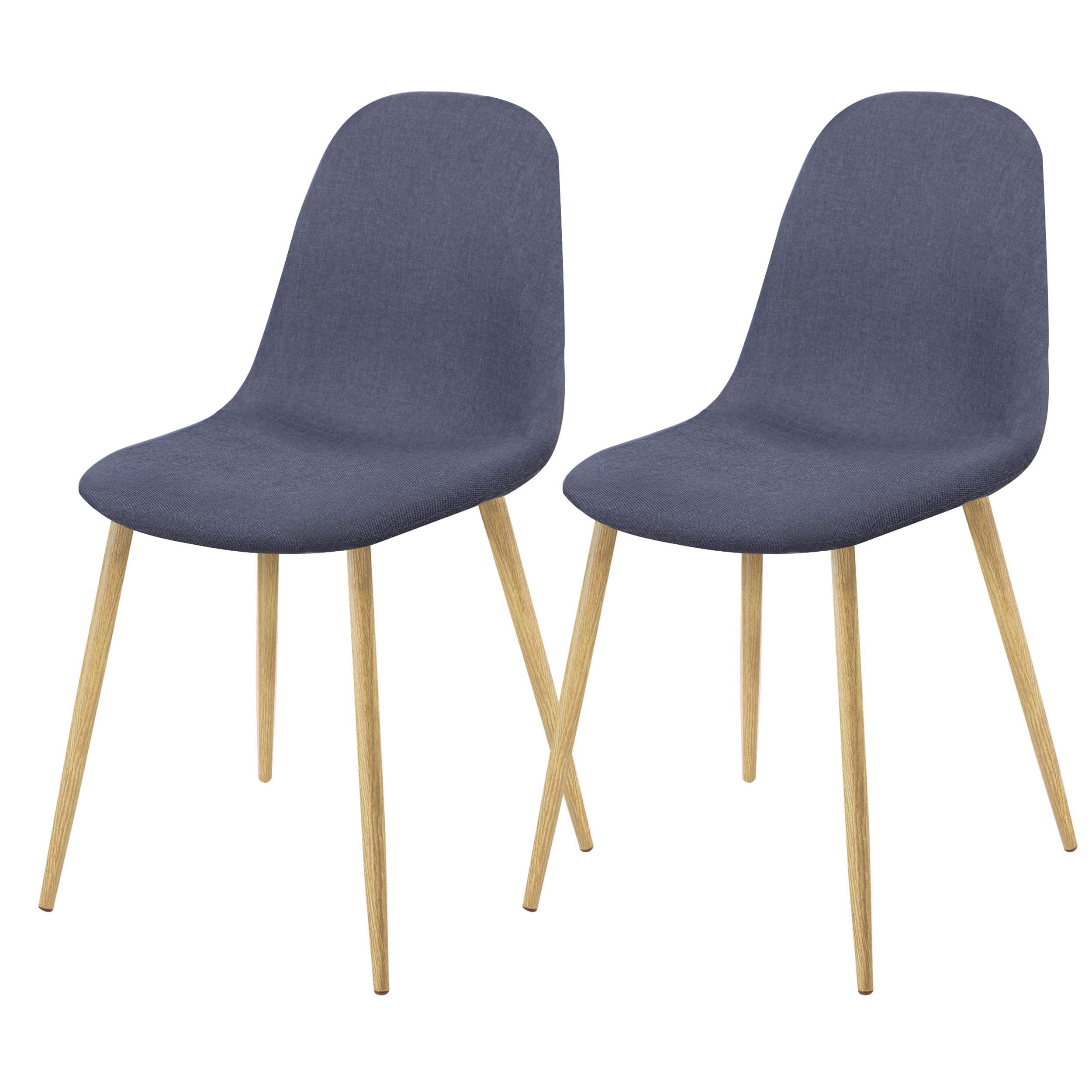 lot de 2 chaises en tissu bleues confortables scandinaves - Chaises Scandinaves Bleu