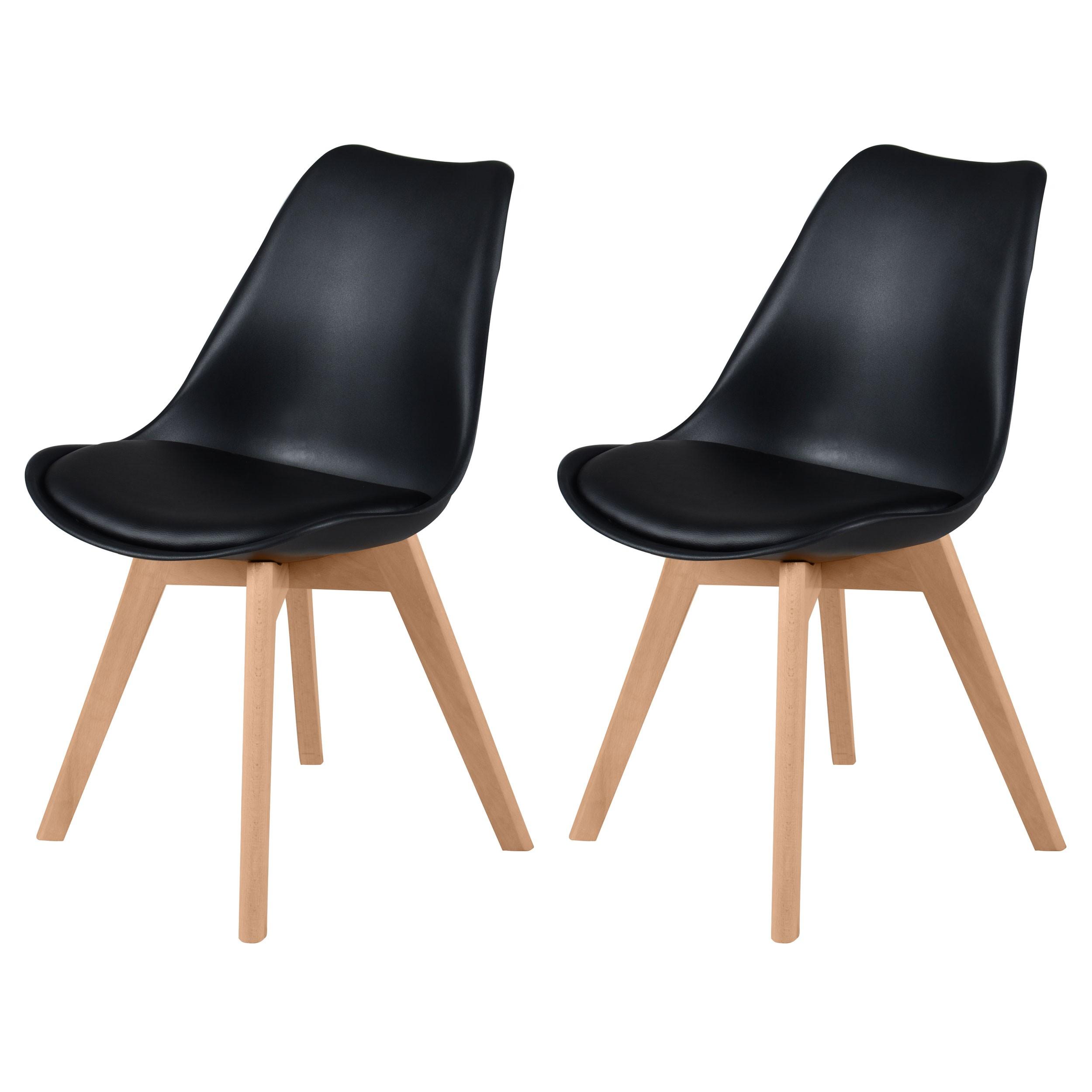 achat chaise skandi noire lot de deux - Chaise Scandinave Noir