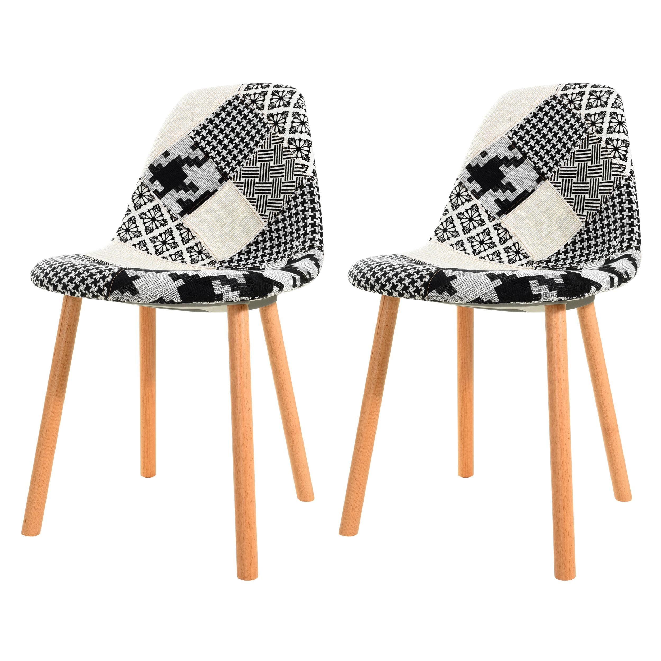 Chaise Arctik Patchwork Noire Et Blanche Lot De 2 Achetez Les
