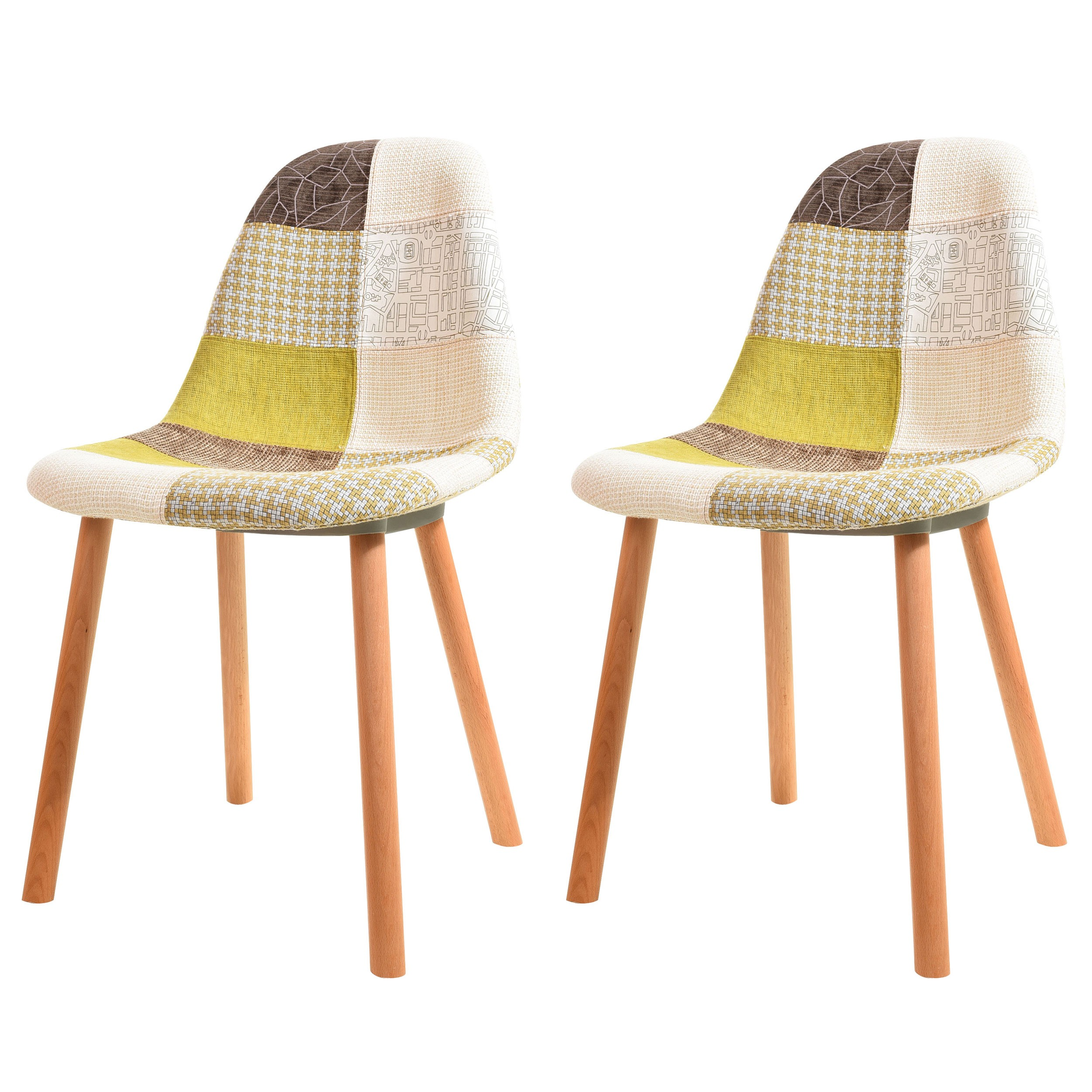 acheter chaise scandinave tissu vert - Chaise Scandinave Beige