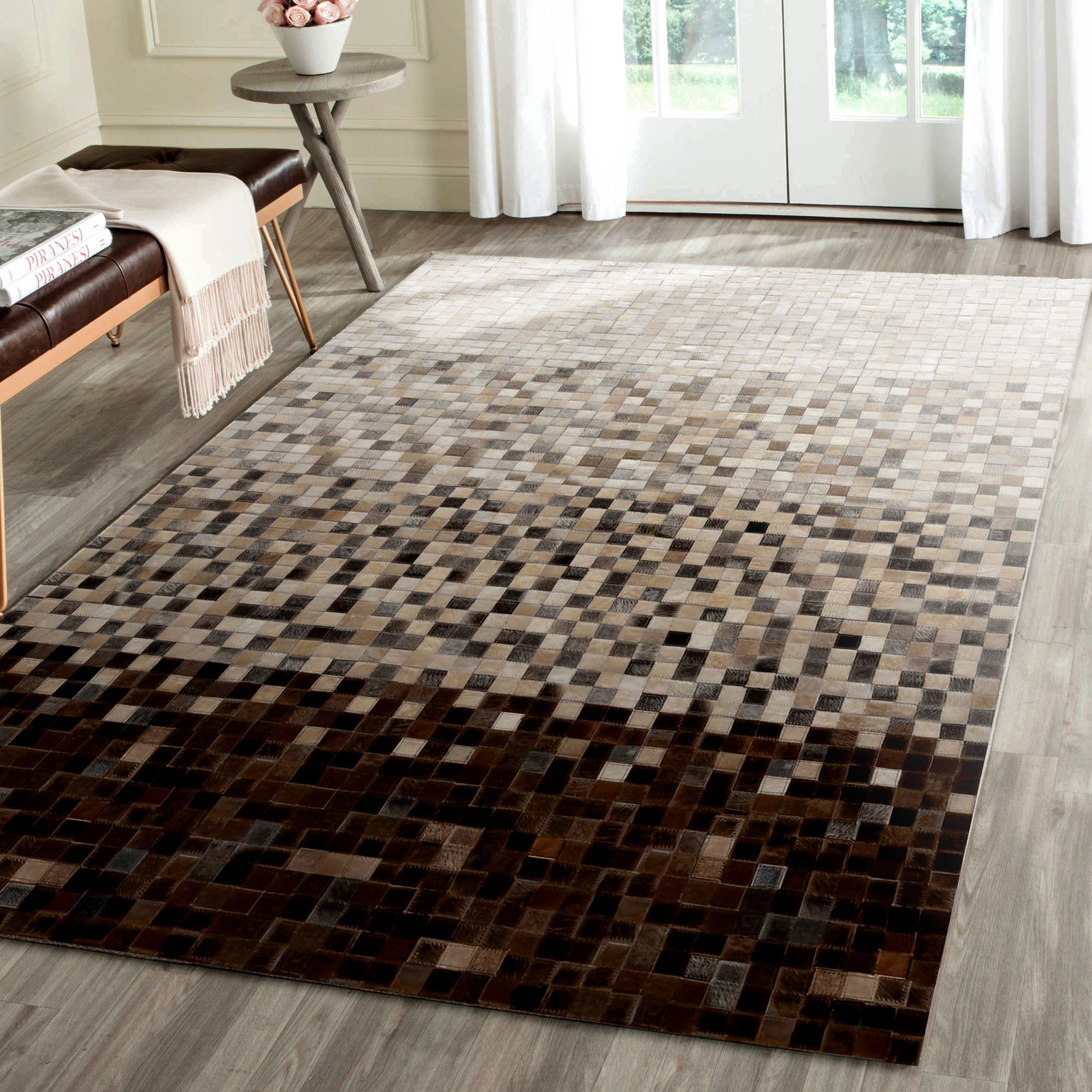 acheter tapis cuir beige marron - Tapis 200x300