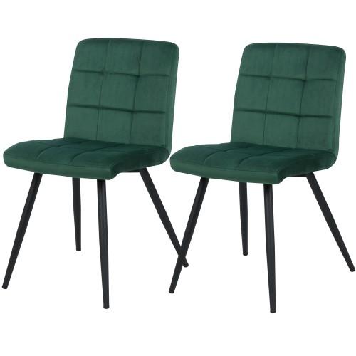 acheter chaise lot de 2 verte pieds noir
