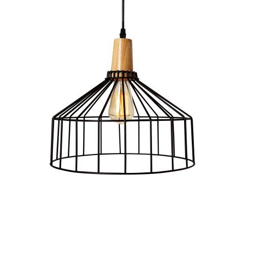 acheter suspension noire metal et bois