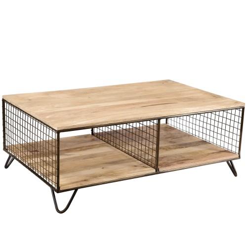 acheter table basse en metal et bois