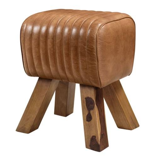 acheter tabouret cuir marron