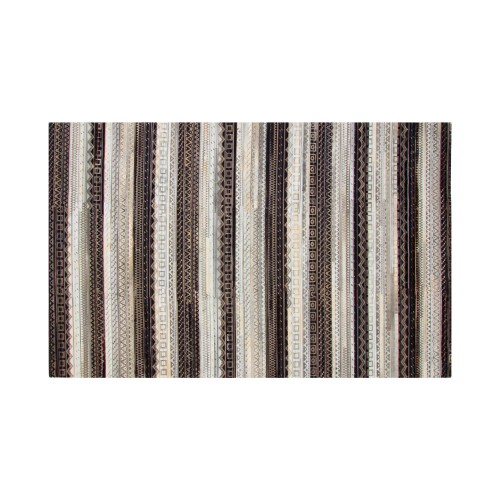 acheter tapis en cuir noir blanc gris