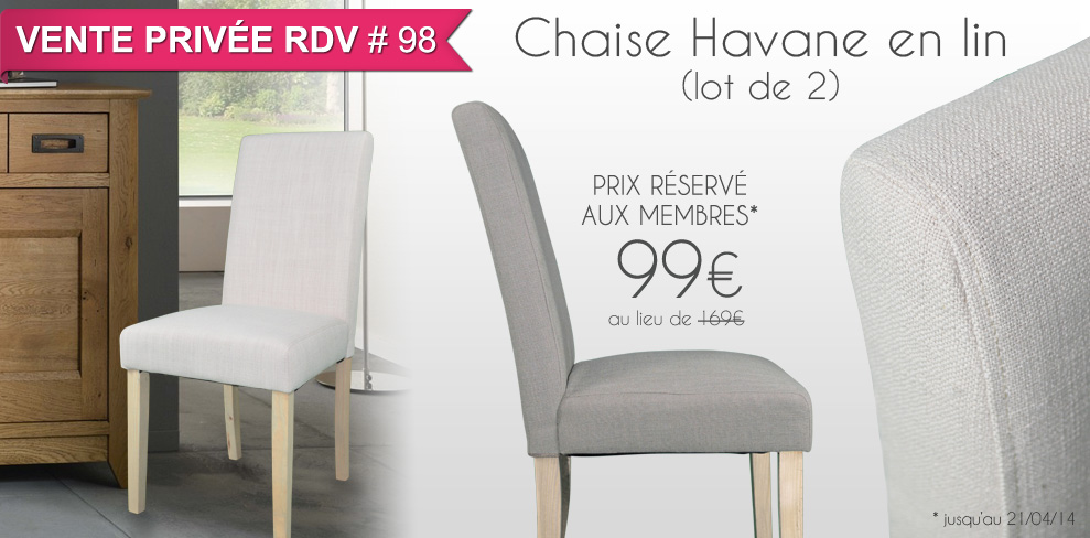Chaise Havane lin (lot de 2)