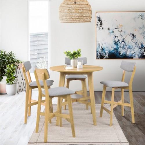 Chaise de bar mi-hauteur Elmer grise en bois clair 68 cm (lot de 2)