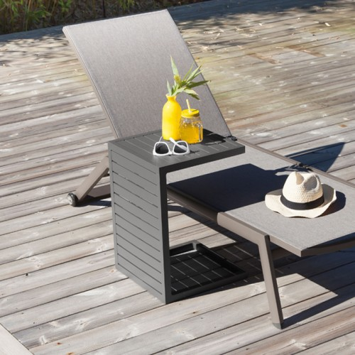 Table basse grise en aluminium Lou (lot de 2)