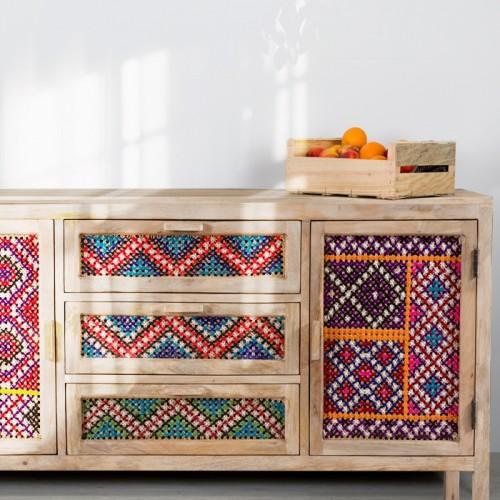 Buffet Massaï 3 tiroirs 2 portes en cannage coloré