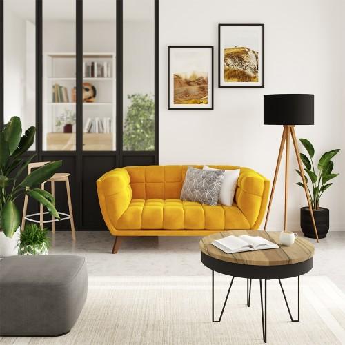 Canapé Mona 2 places en velours jaune