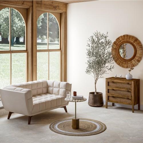 Canapé Mona 2 places en velours beige