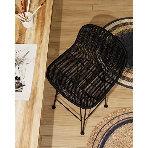 Chaise de bar mi-hauteur Jigani noire 63 cm (lot de 2)