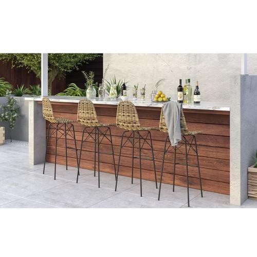 Chaise de bar Tiptur en résine tressée naturelle 76 cm (lot de 2)
