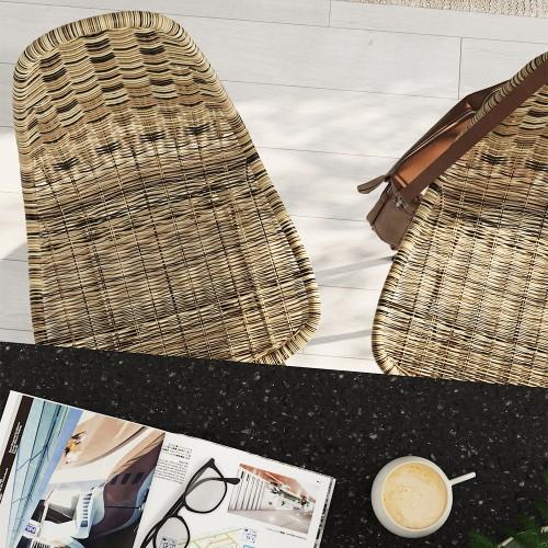 Chaise de bar mi-hauteur Tiptur en résine tressée naturelle 63 cm (lot de 2)