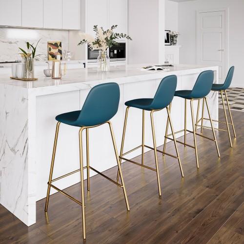 Chaise de bar mi-hauteur Henrik bleue 65 cm (lot de 2)