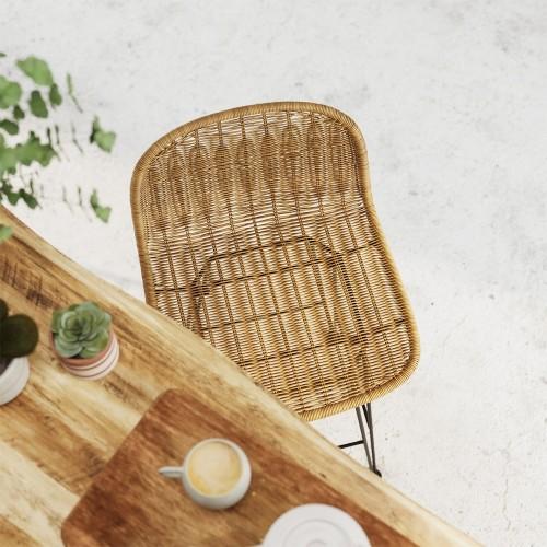 Chaise de bar mi-hauteur Jigani naturelle 63 cm (lot de 2)