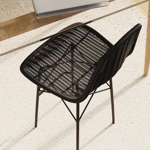 Chaise de bar mi-hauteur Tiptur en résine tressée noire 63 cm (lot de 2)
