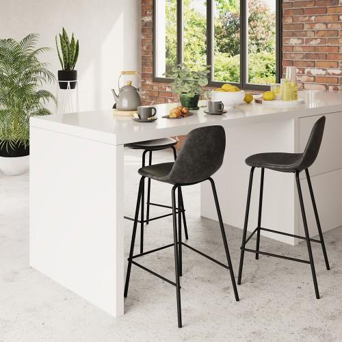 Chaise de bar mi-hauteur Henrik grise/noire 65 cm (lot de 2)