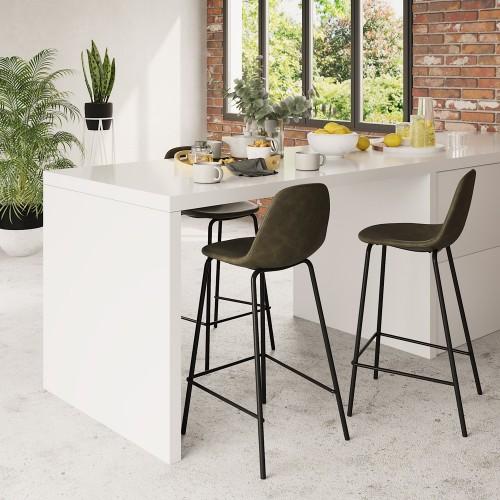 Chaise de bar mi-hauteur Henrik vert kaki 65 cm (lot de 2)