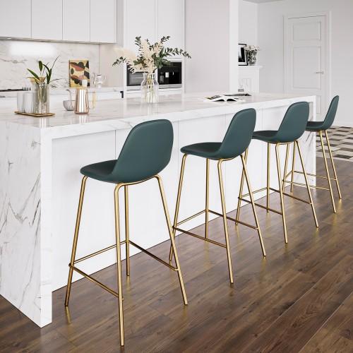 Chaise de bar mi-hauteur Henrik verte 65 cm (lot de 2)