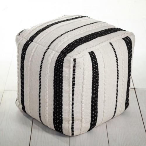 Pouf Mado en laine noir et blanc
