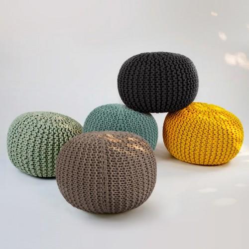 Pouf tricot vert céladon Elisa ∅ 40cm
