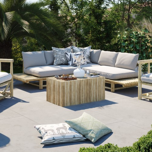Table basse rectangulaire Imani de jardin en teck