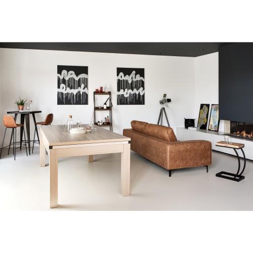 Table de Billard convertible bois foncé tapis bleu clair