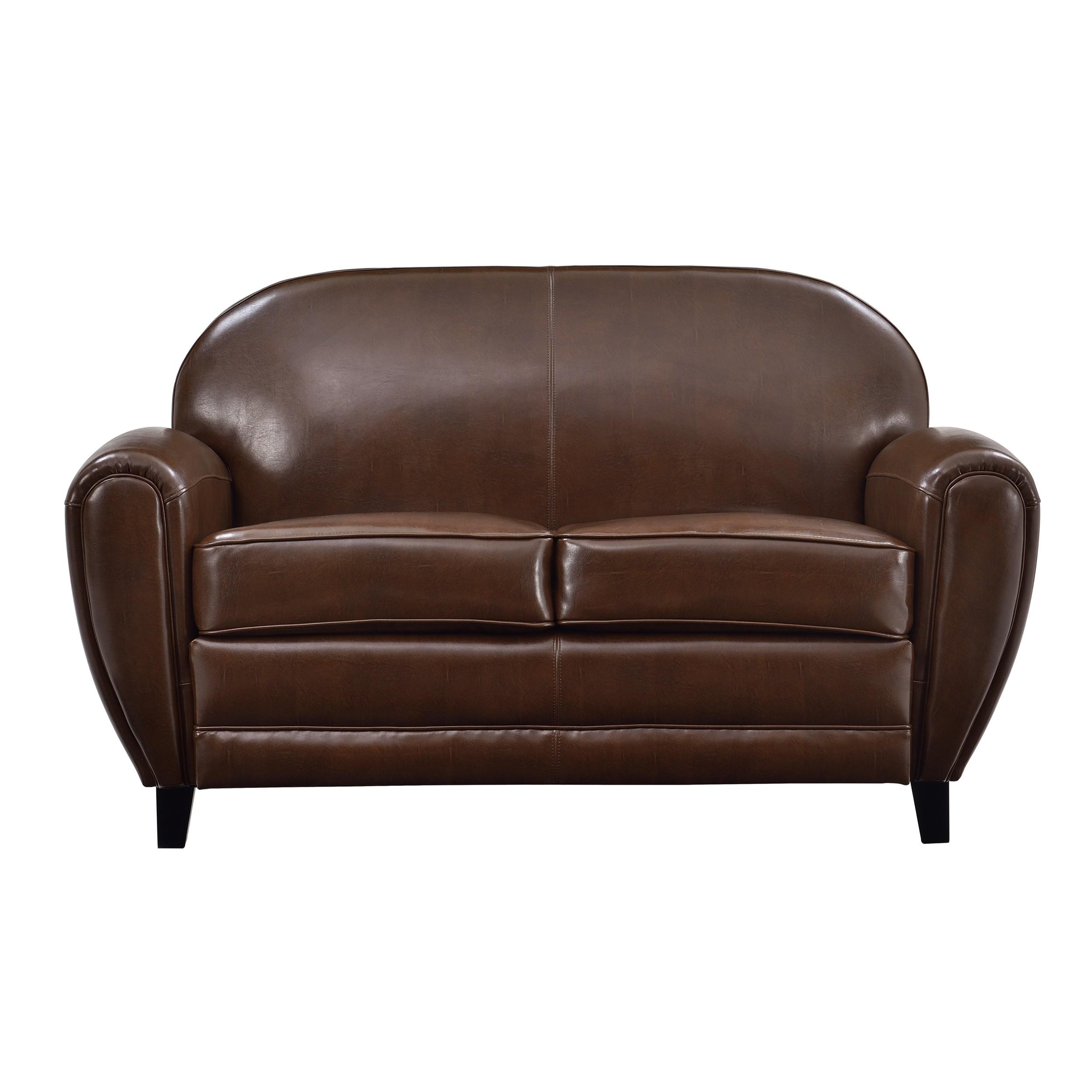 achat canape cuir marron 2 places