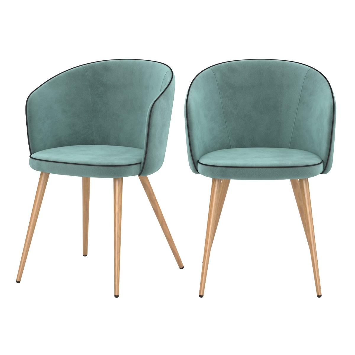 achat chaise arrondie assise velours pieds imitation bois