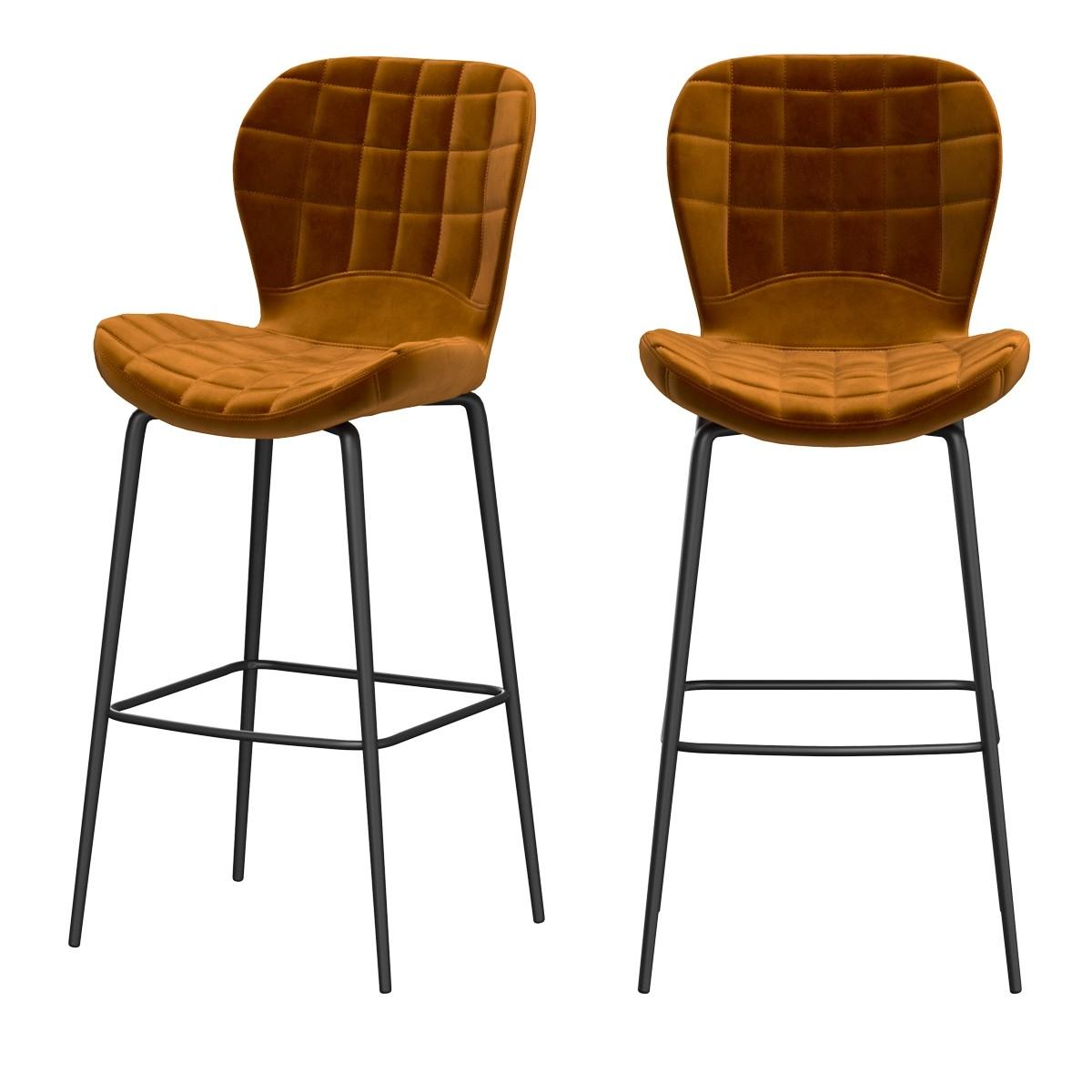 achat chaise de bar molletonnee velours